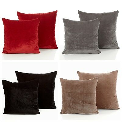 Luxury Simple Plain Modern Rich Velvet Velour Decor Scatter Filled Cushion Cover