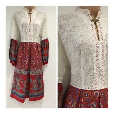 Vintage 70s White Lace Red Blue & Green Floral Pleated Long Sleeve Folk Dress 10