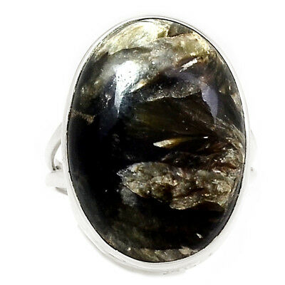 Rare Black Golden Seraphinite From Serbia 925 Silver Ring Jewelry s.7.5 RR204497