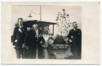 people around STUDEBAKER Car with RAPTURE Message* old RPPC RELIGIOUS Photo
