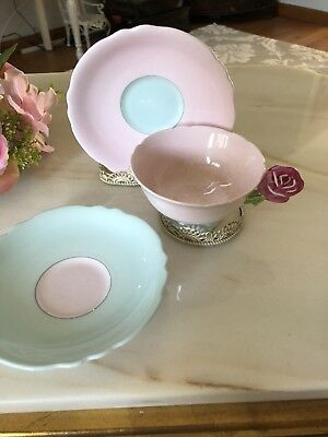 Gorgeous Vintage Paragon Tea Cup And  2 Saucers Rose Handle