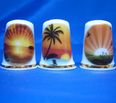 Fine Porcelain China Thimbles - Set Of Three Vector Image Scenes