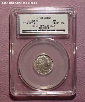 1816 KING GEORGE III SILVER SIXPENCE - Graded good EF by CGS UK
