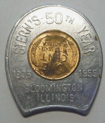 BLOOMINGTON ILLINOIS STERN'S 50th YEAR 1954 D ENCASED LINCOLN CENT