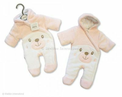 BABY GIRL PADDED SNOWSUIT - TEDDY - PINK - NB, 0-3m, 3-6m