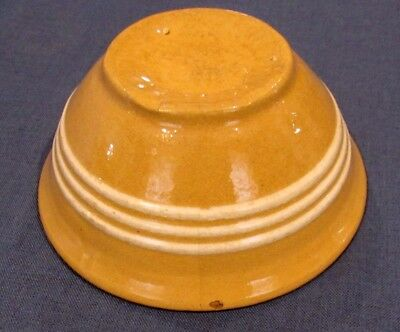 Antique Vintage 3 White Slip Bands Yellow Ware Bowl ~ 6 1/2 Inch ~ Brush McCoy