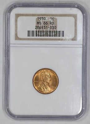 1930 Lincoln Wheat Cent Penny 1C Ngc Certified Ms 66 Rd Mint State Red (030)
