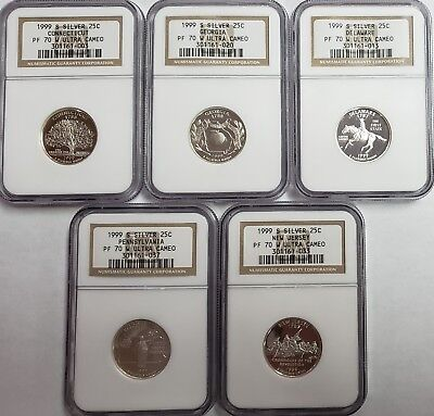 1999-S Silver Quarter Proof Set PF70 W Ultra Cameo NGC Certified