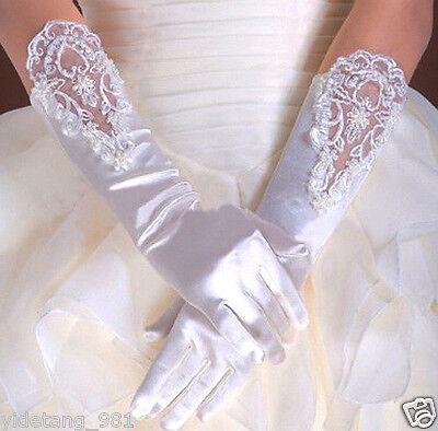 Wedding Flower Girls Communion Pageant Costume Long Elbow Satin Gloves