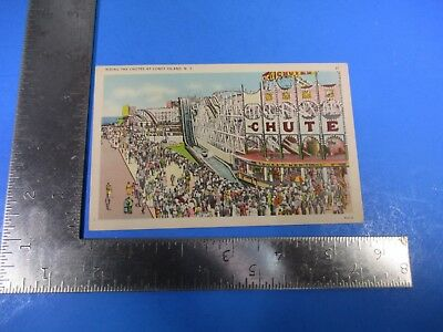 Vintage Riding The Chutes At Coney Island New York Post Card PC70