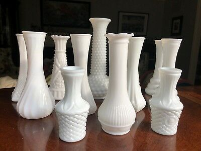 Lot 12 Vintage White Milk Glass Bud Vases Wedding Shower Florist 4