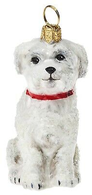 Snowy Snow Covered Maltese Dog Polish Glass Christmas Tree Ornament Pet New