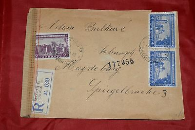 Serbia Beograd 1944 Cemspred Regostered Cpver to Germany Magdeburg Torn at top