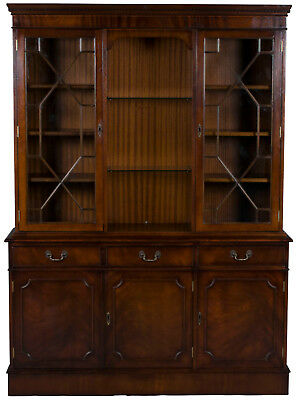 Vintage Antique Style Triple Mahogany Breakfront Bookcase China Cabinet Display