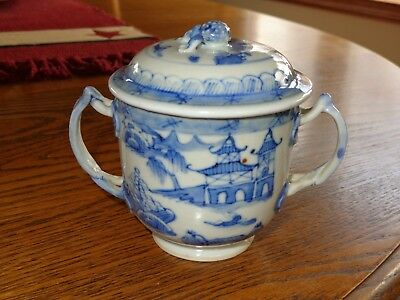 Antique Chinese Export Blue & White Porcelain CANTON Covered Cup Pot