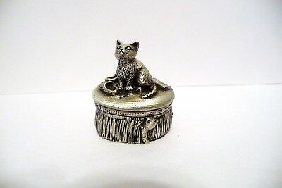 Pewter Trinket Box Ae Williams Wee Boxes Cat On Cushion & Another Chasing Mouse