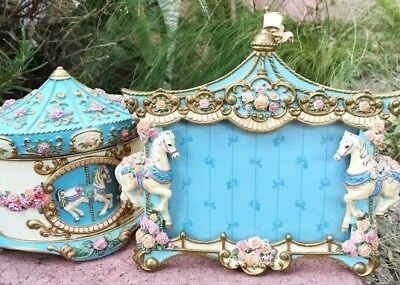 Lot 2 Franklin Mint Carousel Horse Picture Frame & Jewelry Box Hans Painted