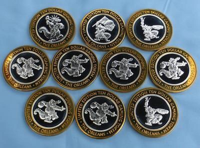 10 The Orleans Hotel Casino Alligator 1/2 oz .999 Fine Silver $10 Gaming Tokens