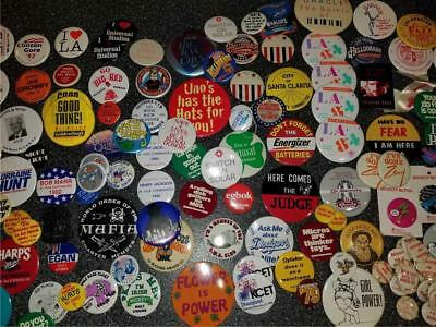 Huge Vintage Lot 152 Pinback Buttons Various Size Political Company Advertising