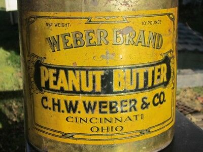 Weber Brand Peanut Butter Tin, C.H.W. Weber & Co. Cincinnati, Ohio 10 Pounds