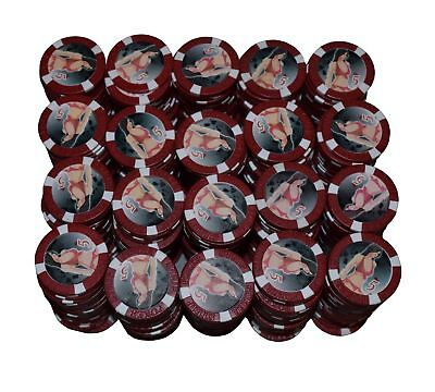 """500 Red Bikini Girl """"5""""  Clay Composite Poker Chips 11.5gr  GREAT DEAL *"""