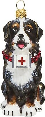 Bernese Mountain Dog with First Aid Kit Polish Glass Christmas Tree Ornament Pet