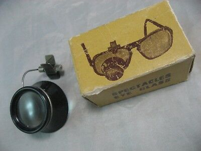 Vintage Eye Spectacles Clip Power 2.5X Magnifying Glass Loupe