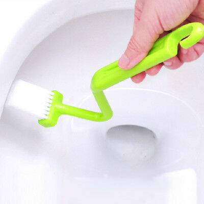 S Type Curved Toilet Cleaning Brush bathroom Corner Rim Cleaner Bent Bowl Handle