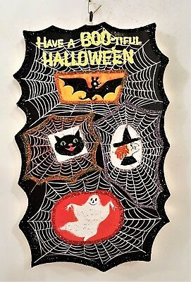 SPIDER WEBS w/ GHOST, WITCH, BAT, CAT * Glitter HALLOWEEN ORNAMENT * Vtg Img