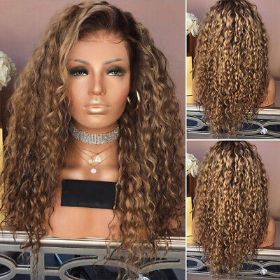 Long Curly Hair Full Wig Heat Resistant Synthetic Hair Brown Blonde Wigs Ombre H