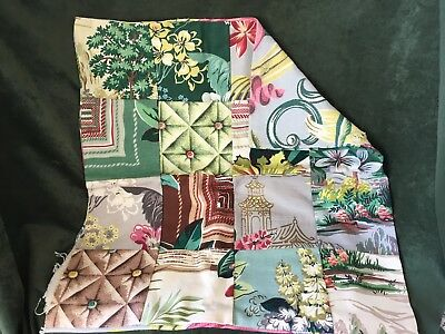 """Vintage Mid Century Bark Cloth Patchwork Pillow Cover Grey Green Pink 20"""" X 19"""""""