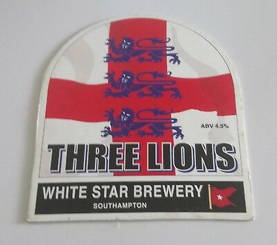 White Star Three Lions Football Beer Pump Handle Clip Badge 4.5 % Abv Ale Vgc