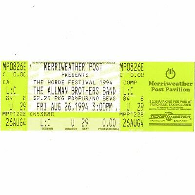 THE ALLMAN BROTHERS BAND Full Concert Ticket Stub COLUMBIA MD 8/26/94 HORDE Rare