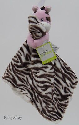 Baby Starters Girls Pink Zebra holding Snuggle Security Blanket 10x10 in NWT