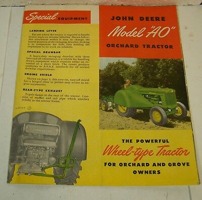 vtg JOHN DEERE MODEL AO Orchard Tractor ADVERTISING sales BROCHURE 1951 1950's