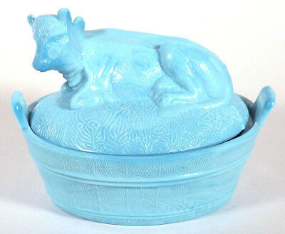 1800 Antique EAPG COW ON TUB Nest BLUE SLAG MILK GLASS Candy Dish Covered Bowl