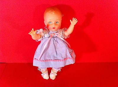 Madame Alexander Little Genius Doll Baby Blue Pink Dress Vintage Figure 7""