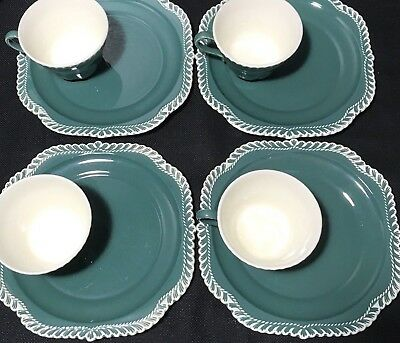 Harker Ware Teal Green Corinthian Luncheon Plate Tea Coffee Cups Set 4 Vintage