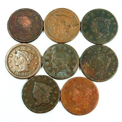 Group Lot of 8 Early U.S. Large Cents - Exact Lot Shown 3025