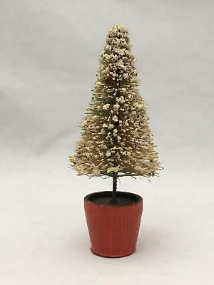"""Vintage 4"""" """"Snow"""" Bottle Brush Christmas Tree in Wood Flower Pot or Stand"""