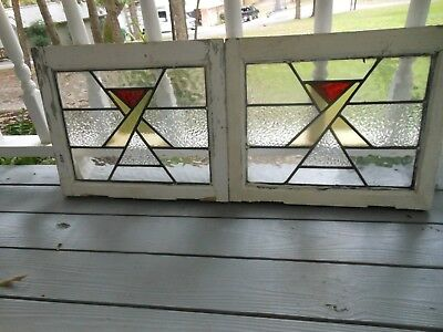 P-489 Lovely Older Leaded Stained Glass Window From England 2 Available