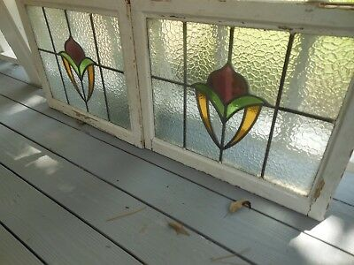 P157 Lovely Older Large Leaded Stained Glass Window From England 2 Available