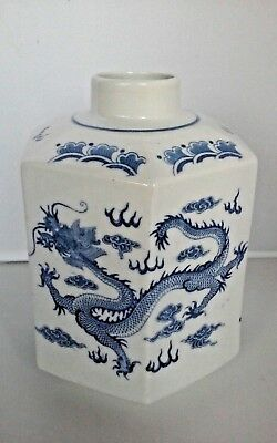 Oriental Japanese Porcelain Blue White Dragon Tea Caddy Characters Marked
