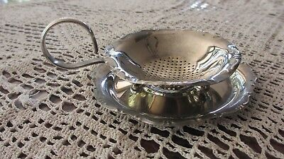 Vintage Silver Plated Tea Strainer with drip Tray gorgeous