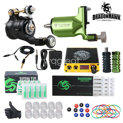 Dragonhawk Tattoo Kit 2 Rotary Tattoo Machine Power Supply for Tattoo Artists