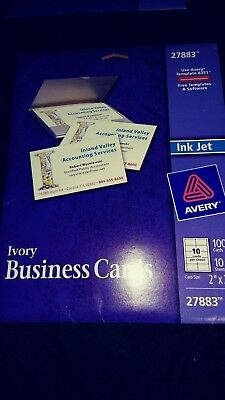 """Avery 2"""" x 3.5"""" Ink Jet Business Cards (27883) New. Ivory. 100 Cards."""