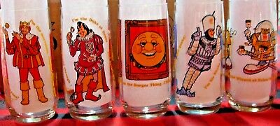 COMPLETE SET OF 5 VINTAGE 1979 BURGER KING COLLECTOR's SERIES GLASSES