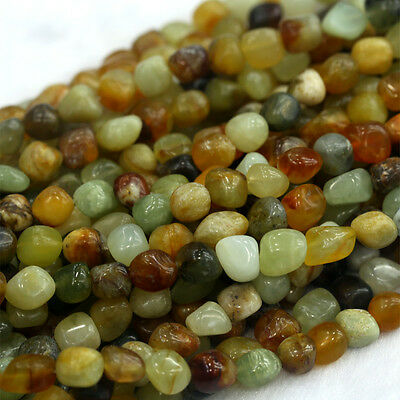 Natural Genuine Green Yellow Rainbow nephrite Jade Nugget Free Form Stone Beads