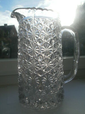 ANTIQUE DAVIDSON CLEAR GLASS LARGE TALL WATER JUG BUTTON & DAISY Lion MARK c1880