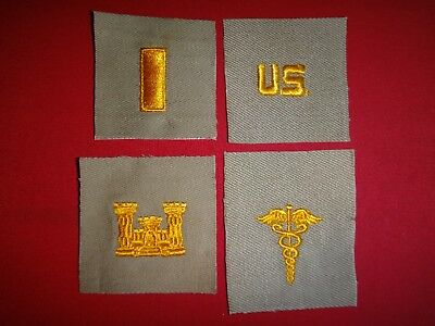 4 US Army Desert Tan Patches: 2nd LT + U.S + Corps Of ENGINEERS + MEDICAL corps